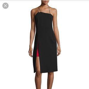 Mugler Asymmetrical Halter Chain Dress (Size FR40)